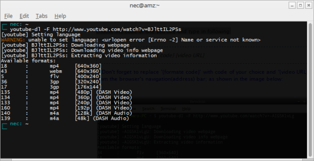 Example of youtube-dl -F